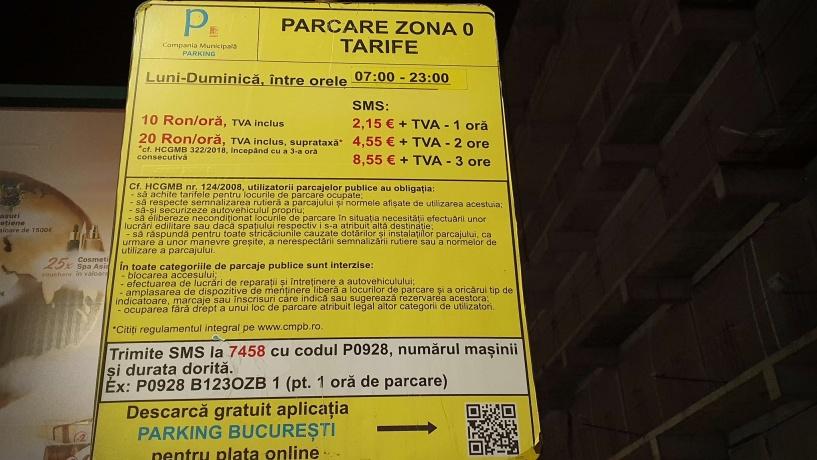 tarife parcare zona 0 bucuresti